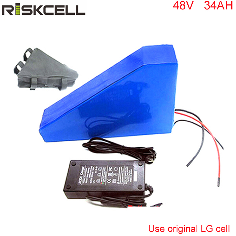 48V 750W 1000W Electric Bicycle Battery 48V 34AH Triangle Lithium Battery with 30A BMS and 2A Fast Charger For LG cell