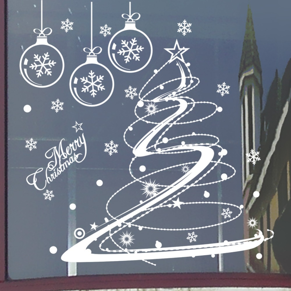 Christmas store window decorations - Christmas Decal Flowers Christmas Decorations Shop Window Home Window Decal Xmas10 China
