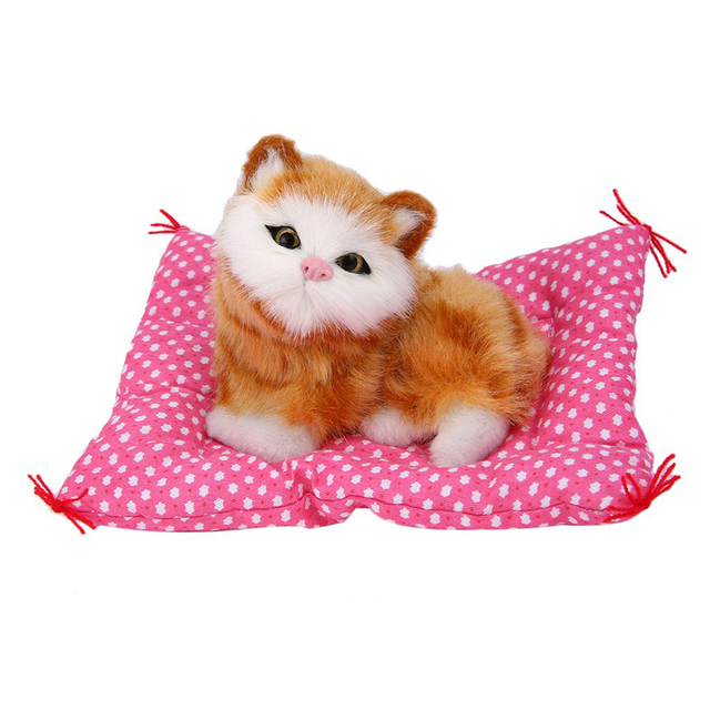 New Lovely Cute Small Simulation Sounding Animal Doll Plush Soft Sleeping Cats With Sound Kids Toy