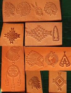 Image 2 - 13pcs הודי תרבותית אלמנטים דפוס יד עבודה ייחודי עיצוב גילוף אגרופים חותמת קרפט עור עם עור גילוף כלים
