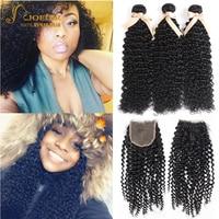 Joedir Brazilian Afro Kinky Curly Hair Wave Bundles With Closure 100% Human Hair Weave 2 3 Curl Bundles With 4*4 Lace Closure