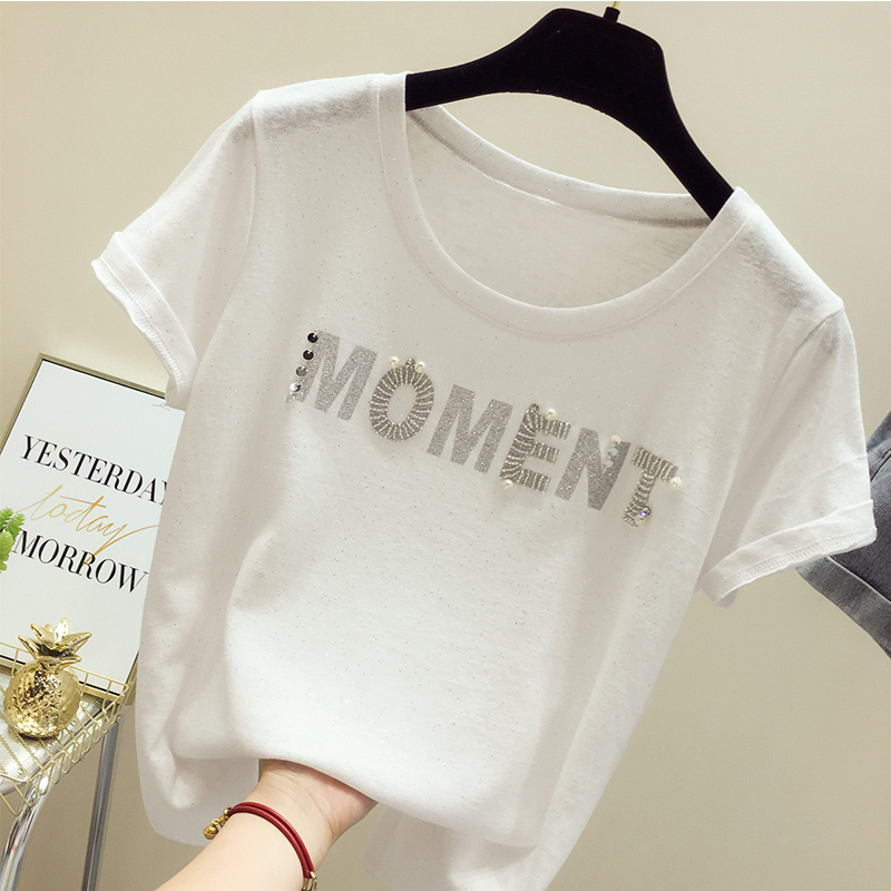 Women T shirt Modis Summer Lce Silk Short Sleeve Solid O neck Pink White Beading Female T Shirt Loose Casual 2019 Fashion Tops in T Shirts from Women 39 s Clothing