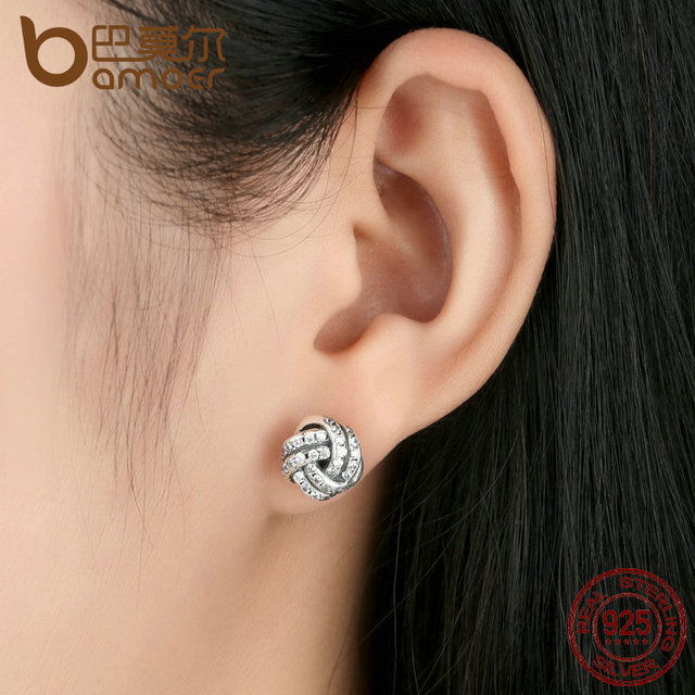 Sterling Silver Weave Classic Push-back Stud Earring