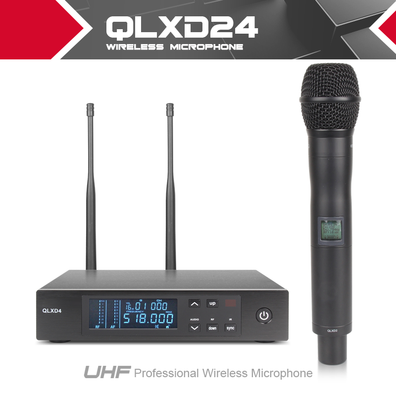 QLXD24 Top Quality for Stage!!!True Diversity UHF PRO WIRELESS DUAL MICROPHONE SYSTEM QLXD2 QLXD4  Cordless MIC  top quality professional true diversity single handheld wireless mic microfone uhf wireless microphone system perfect for stage
