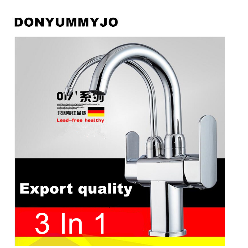 где купить DONYUMMYJO 100% Brass Marble Painting Swivel Drinking Water Faucet 3 Way Water Filter Purifier Kitchen Faucets For Sinks Taps по лучшей цене