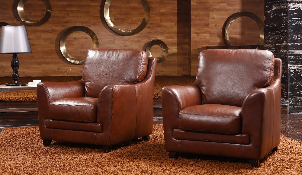 Customized Antique European Concise Style Creative Loft Genuine Leather Single Living Room Sofa Chairs Free Shipping