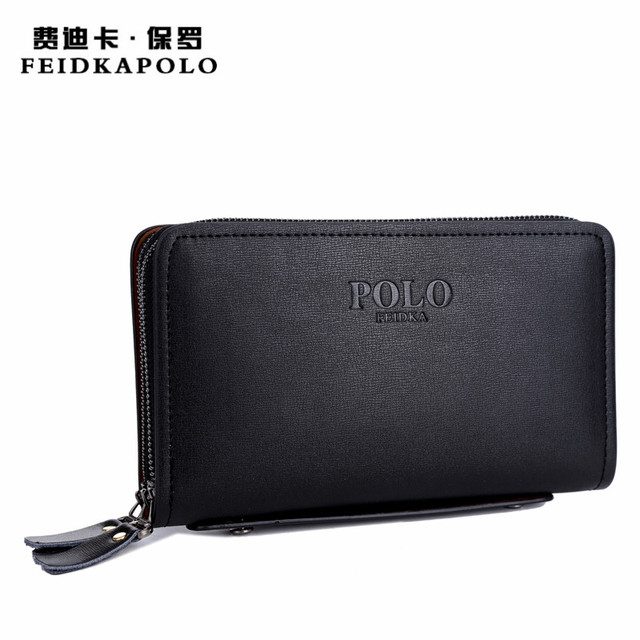 FEIDKA POLO Brand Wallet Men PU Leather Hand Bag Men s Purse Handbag Double  Zipper Wallet Male 495775b679dba