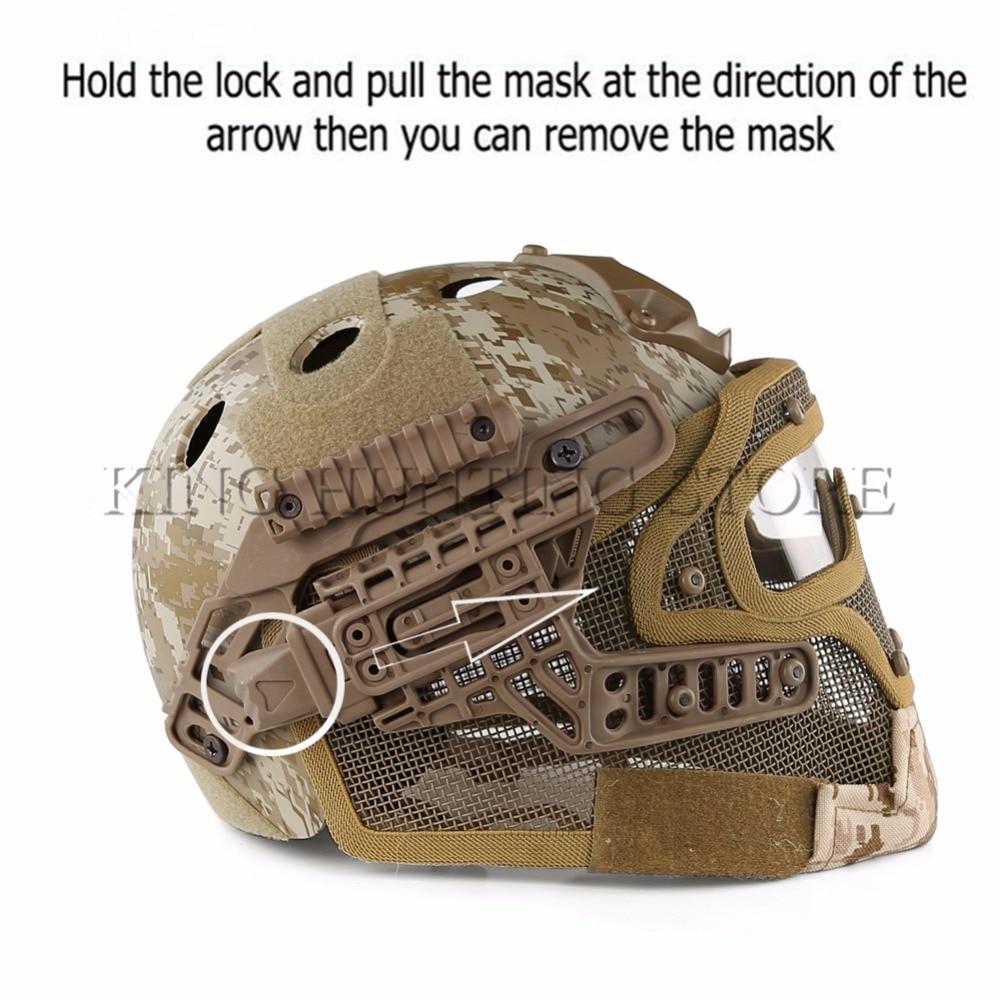 tático abs máscara com óculos de proteção