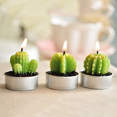 Analytical Home Decor Rare Mini Cactus Candle Table Tea Light Home Garden Simulation Plant Candle Decorative Wedding Candles 6pcs/set Home & Garden Candles & Holders