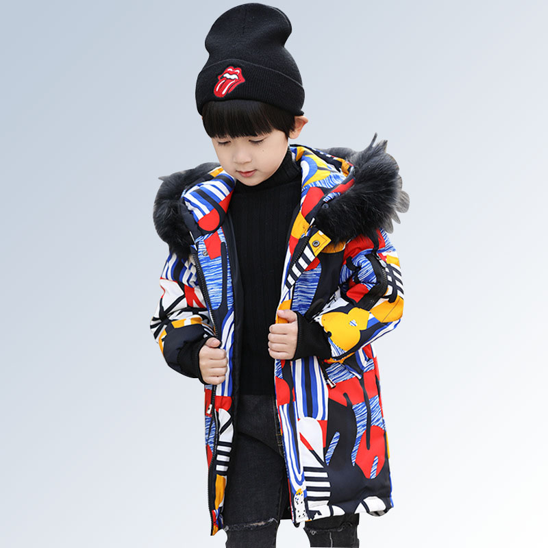 89f73f9bdd8c Boys Winter Coat Parka Long Down Puffer Hooded Fur Collar Children ...