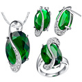 Jewelry set for women fashion silver 925 green crystal jewelry  gold plated necklaces rings stud earrings Bridal Jewelry Sets