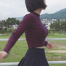 Crop Tops Women 2017 Chic All-match Classic Stripe Slim Short Bustier Crop Top Turtleneck Long Sleeved T-shirt Sexy Shirts Tee