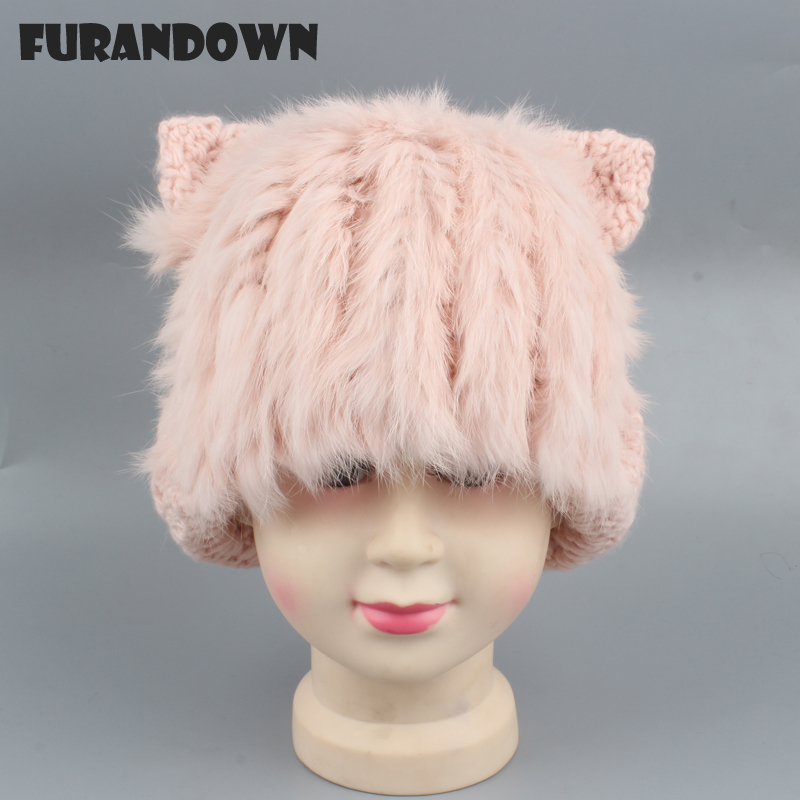 Age 3-10 years Kids Winter Cat   Beanie   Hat Rabbit Fur Hats For Girls Boys Wool   Skullies     Beanies