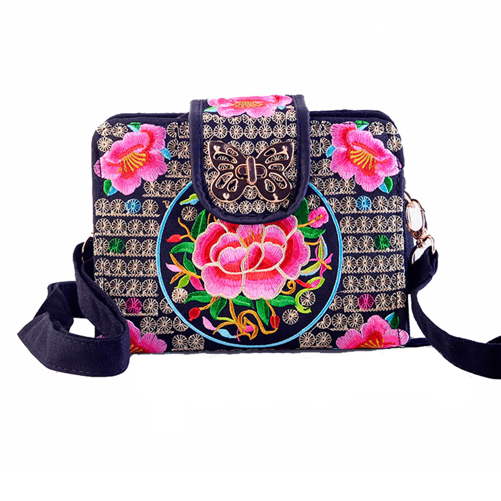 Ethnic Embroidery Flowers Bag Clutch Bag Purse For Women #02 Womens Bags Clutch Bags