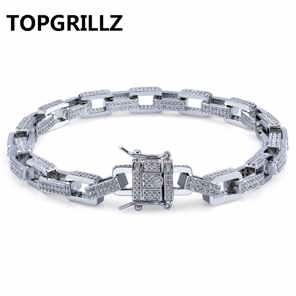 TOPGRILLZ Hip Hop Men Jewelry Bracelet Copper Gold/Silver Color Plated Iced Out Micro Paved CZ Stone Box Chain Bracelets 18 22 topgrillz spikes rivet stud mens rivet charm bracelets 2018 iced out gold silver color bracelets for men hip hop punk jewelry