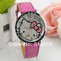 100pcs/lot Hello Kitty Watches Fashion Cartoon Leather Quartz  Watches Women Children High Quality  Kids Watch Factory Wholesal