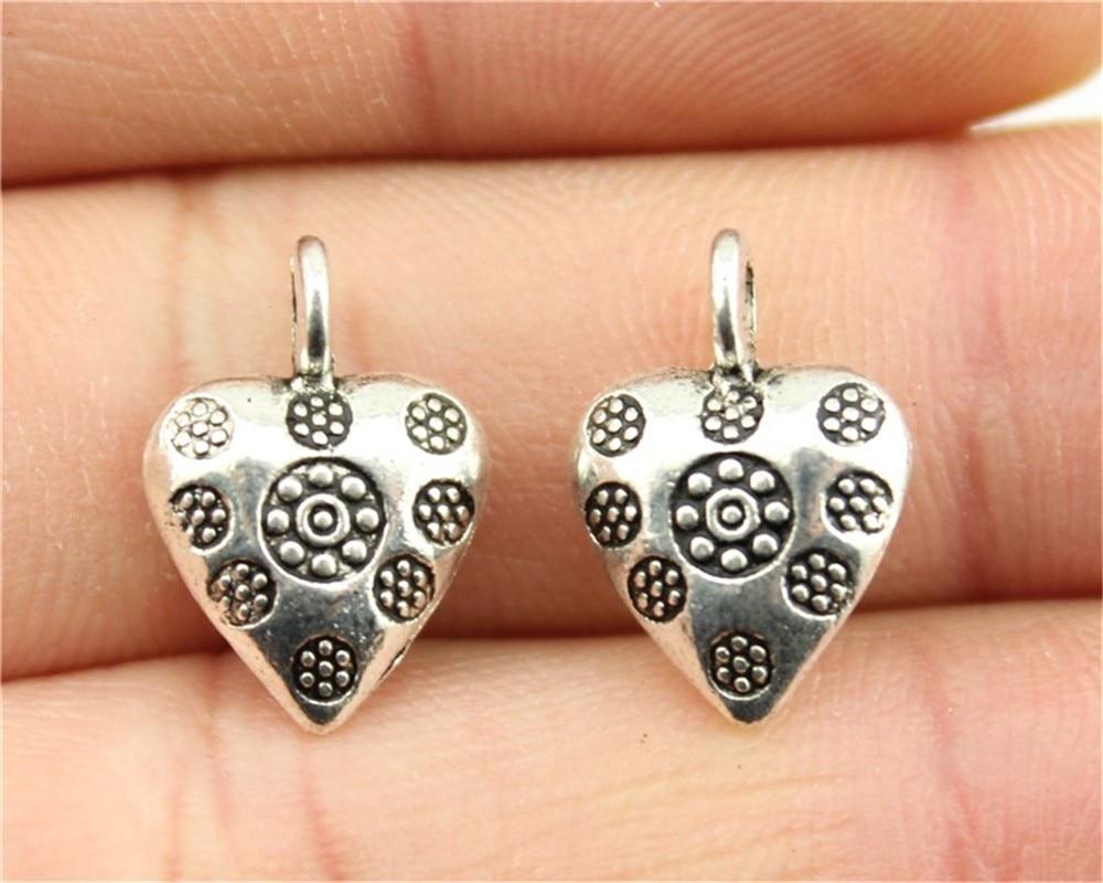 50pcs Tibetan Silver Metal Perles Européen Grand Trou Nickel Libre Charms 10x5mm