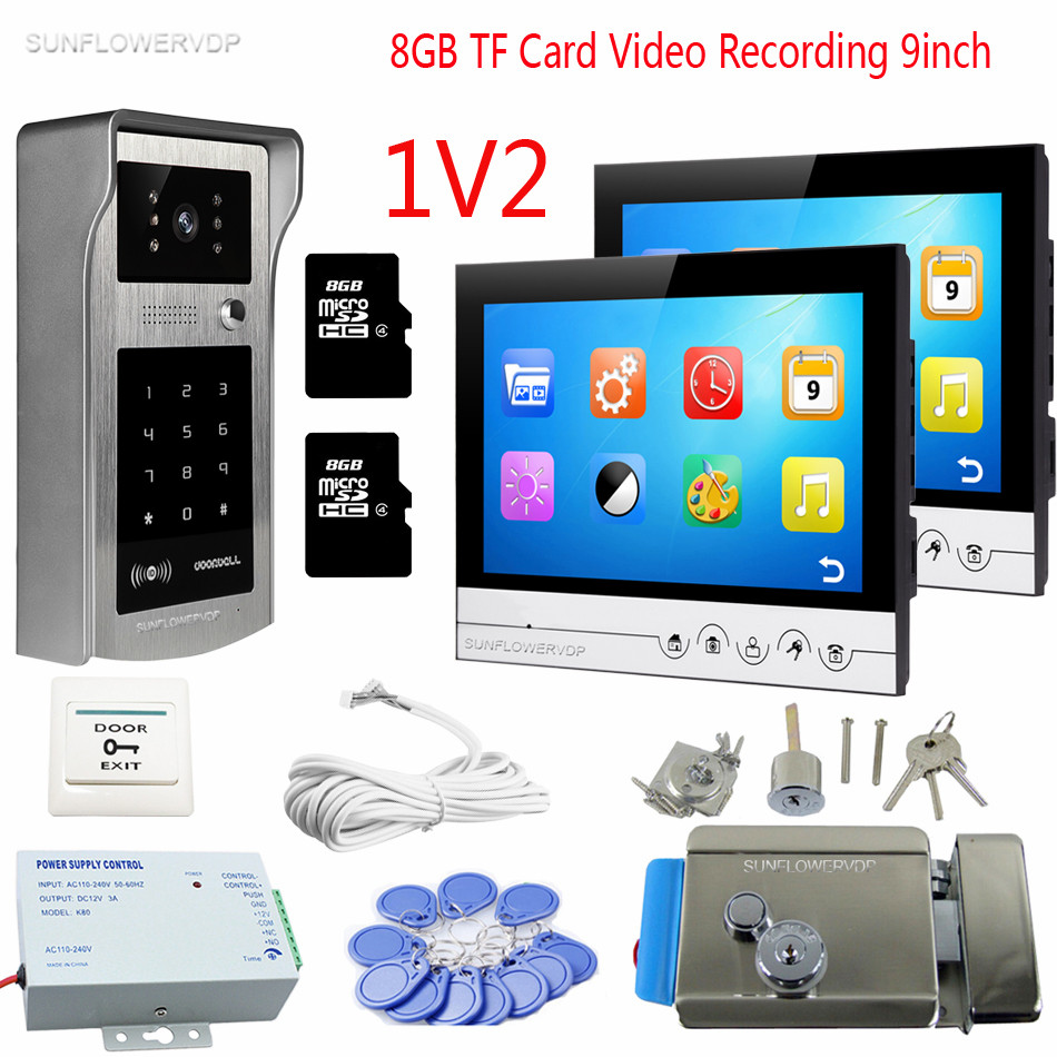 Rfid Code Keypad Video Intercom For Home 9inch Color 8GB TF Recording Doorphone Monitor Videophone For 2 Apartments With Lock color ring inductance 0307 3 9uh a03073r9 color code 20
