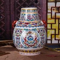 Цзиндэчжэнь клуазоне бусина керамическая ваза с ораментами фарфор ручной работы античная фарфоровая статуэтка бак аксессуары домашняя ЕА