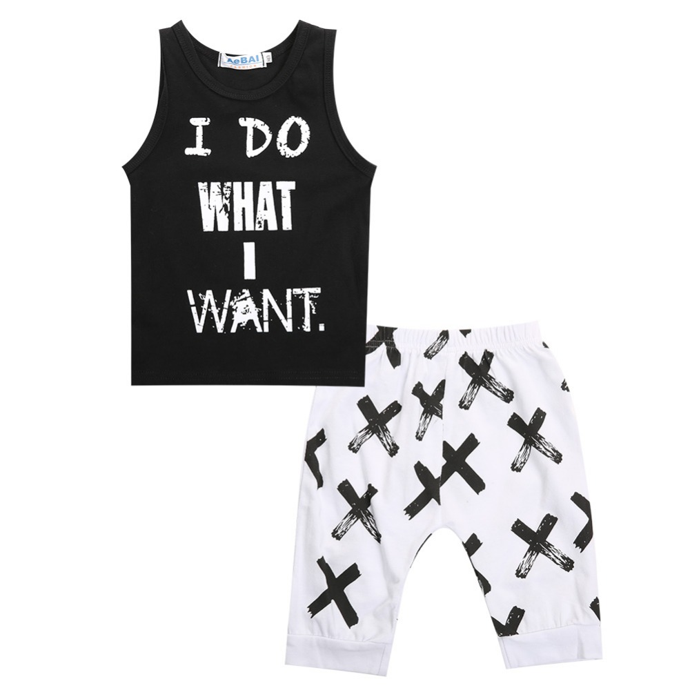 2017 Summer Style Infant Clothes Baby Clothing Sets I DO WHAT I WANT Model 100% Cotton Short Sleeve 2pcs Baby Boy Clothes