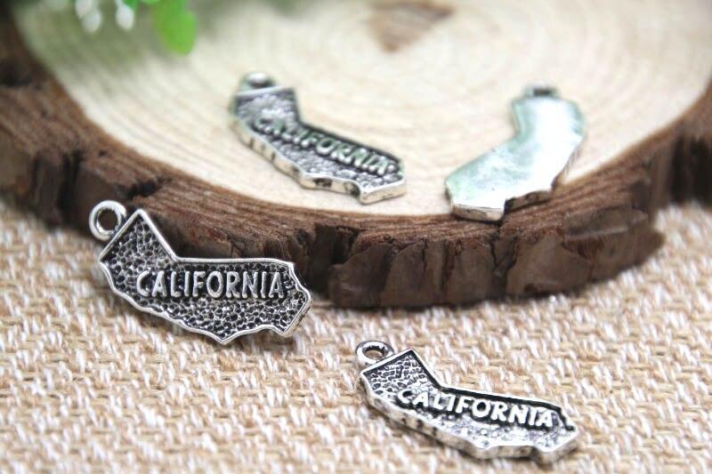 10pcs--California Charms Antique Tibetan silver California Charms pendants ,DIY Supplies 26x12mm(China)