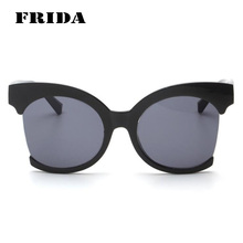 FRIDA 2016 New Fashion Half Frame Oversized women Sunglasses Women Hipster Marcas Retro Big Round Sun glasses Oculos feminino