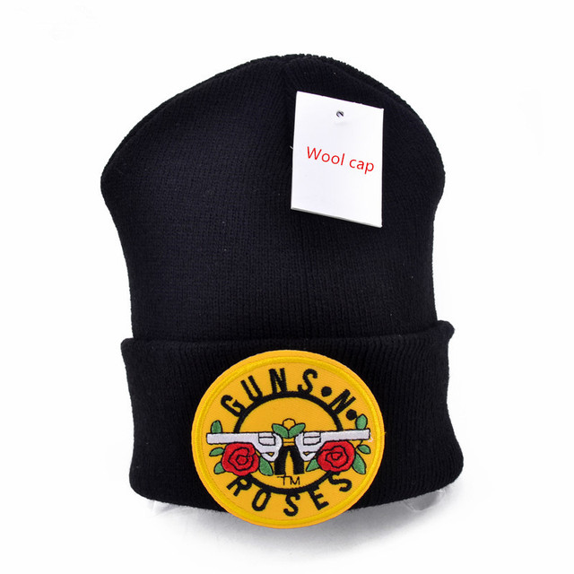 Guns N  Roses logo Wool Beanies 6 colors Knit Men s Winter Hats For Men  Women Beanie Warm hat Crochet hat cotton hat dd0ba941940