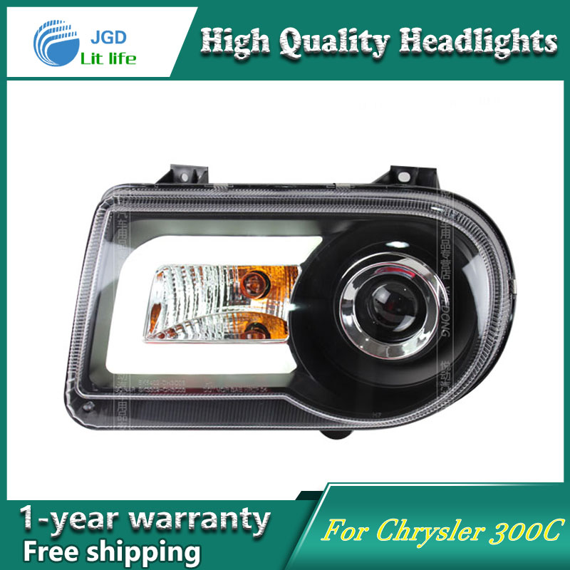 high quality Car styling case for Chrysler 300C Headlights LED Headlight DRL Lens Double Beam HID Xenon hireno headlamp for 2016 hyundai elantra headlight assembly led drl angel lens double beam hid xenon 2pcs