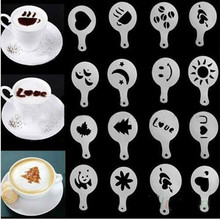 16 Pcs/set Plastik Cafe Foam Template Barista Stensil Alat Dekorasi Garland Cetakan Kopi Mewah Motif Bunga Model(China)