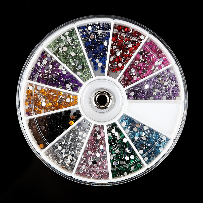 2400Pcs font b Nail b font Art Decoration Multicolor 2mm 3D Acrylic Rhinestones Glitter Fingernail Tips
