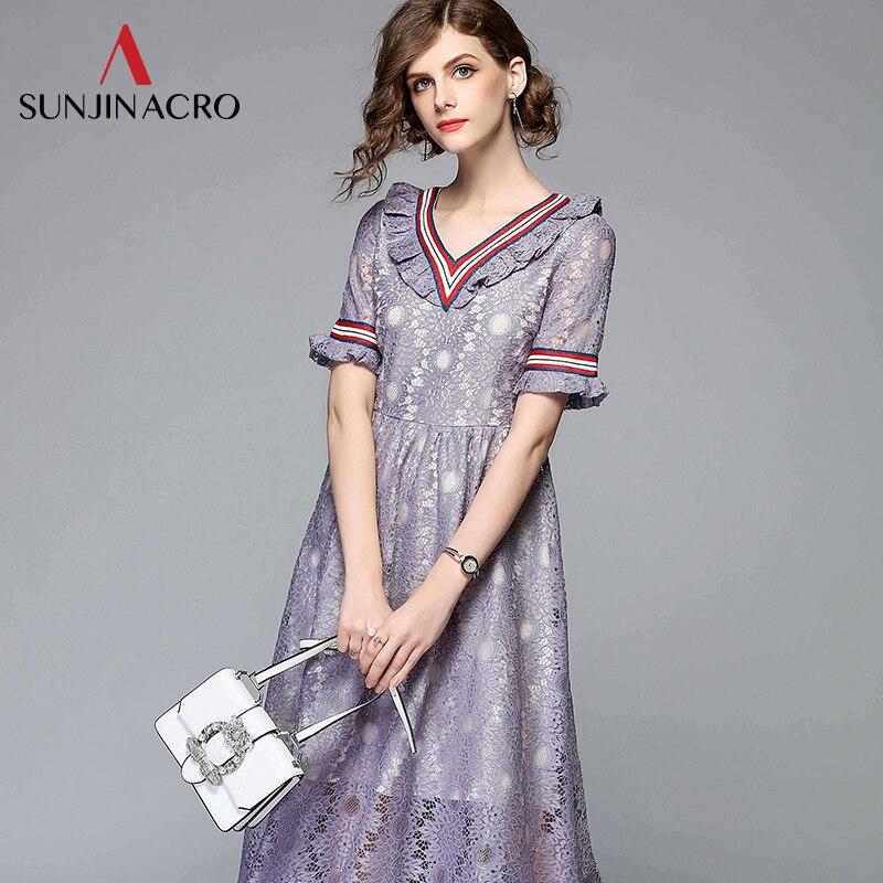 Été élégant à volants col en v à manches courtes partie mi-mollet robe violet bohème Fit et Flare robes en dentelle