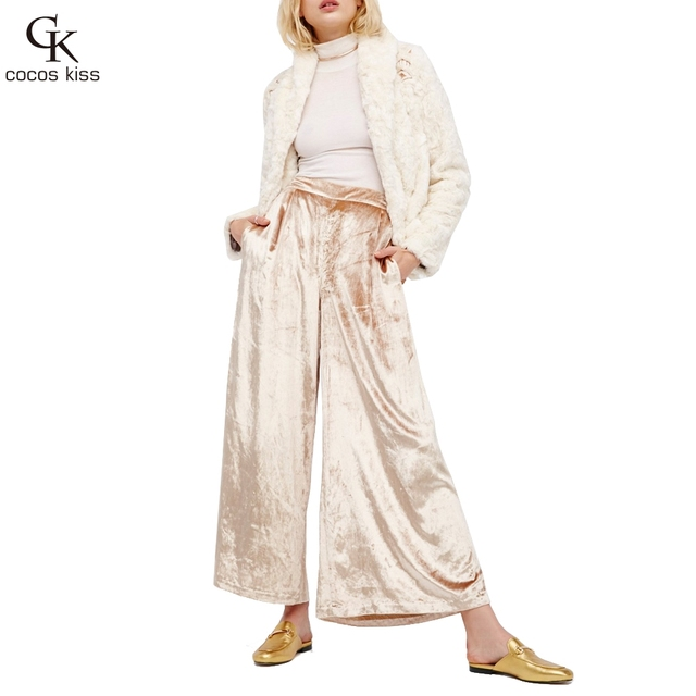2017 New Womens trousers Fashion Casual High waist Velvet Wide leg Pants Loose Office lady Pockets Pants 5 colors