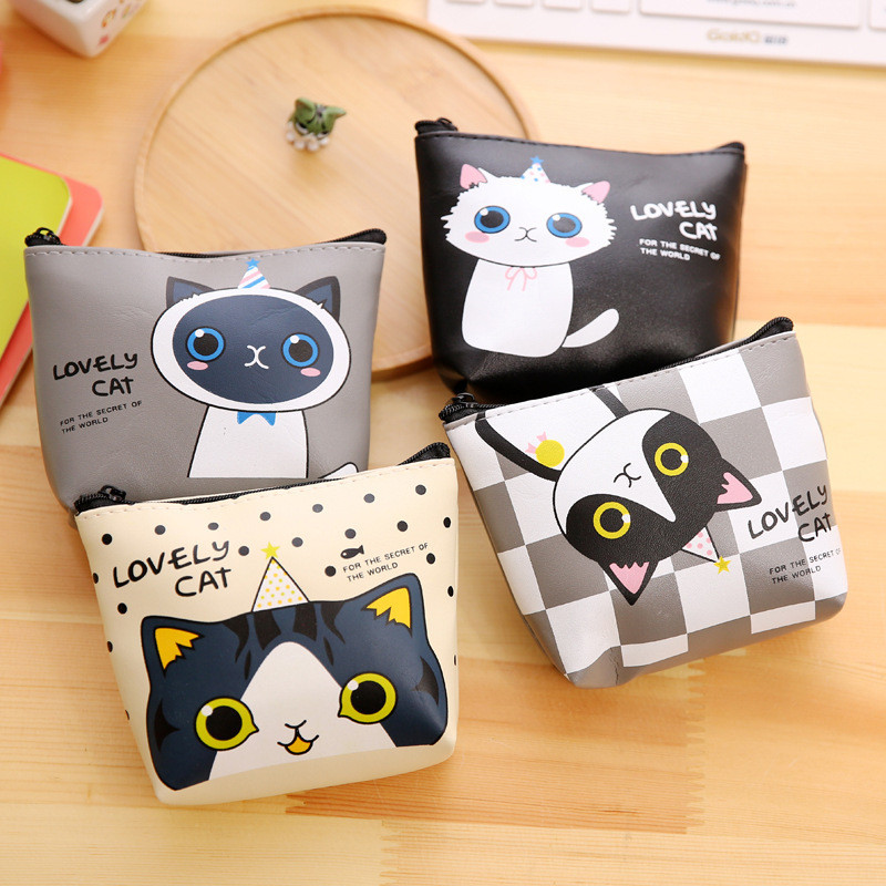 Women Girls Lovely Cat Coin Purse PU Leather Print Snacks Coin Purses Wallet Bag Zipper Small Change Pouch Key Holder Bags