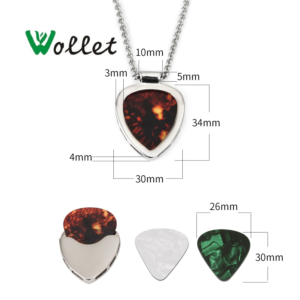 Wollet Jewelry Multi Color Guitar Plate 316L Stainless Steel Pendant Necklace For Women Men No Plating Silver Color Fashion love in Pendants from Jewelry Accessories