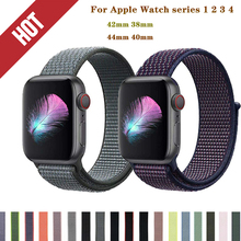цена на Soft Breathable Nylon Sport Loop Strap For Apple Watchband 42/38/44/40mm woven bracelet for iWatch series 4/3/2/1 band accessory