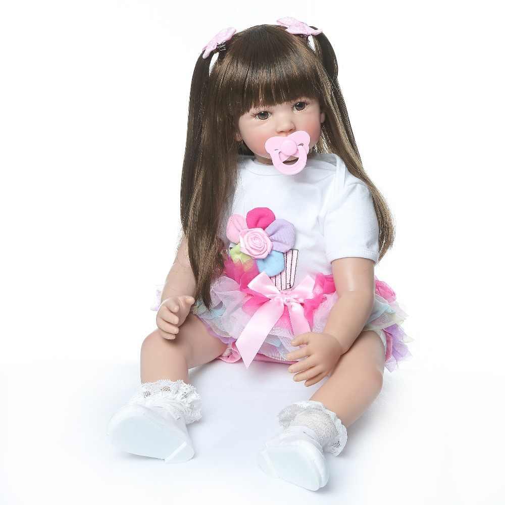 Alta qualidade 60cm tamanho grande renascer criança princesa silicone vinil adorável lifelike bebê bonecas menina bebe boneca renascer menina