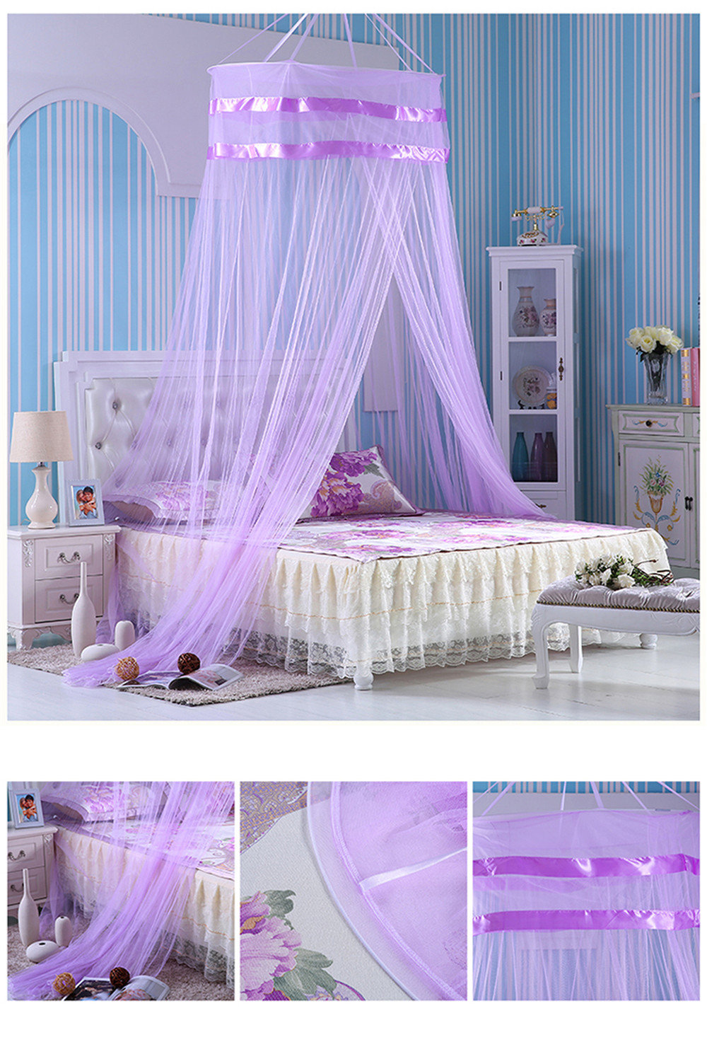 2017 Summer Style Romantic Round Lace Curtain Dome Bed Canopy Netting Princess Mosquito Net Purple Brand New High Quality-in Mosquito Net from Home u0026 Garden ...  sc 1 st  AliExpress.com & 2017 Summer Style Romantic Round Lace Curtain Dome Bed Canopy ...