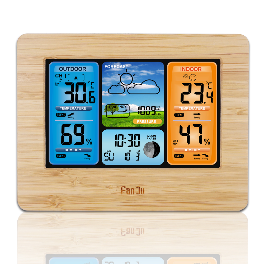 FanJu FJ3373 Weather Station Wall Clock Digital Temperature Humidity Barometer Forecast Backlight Snooze Alarm Wireless sensor