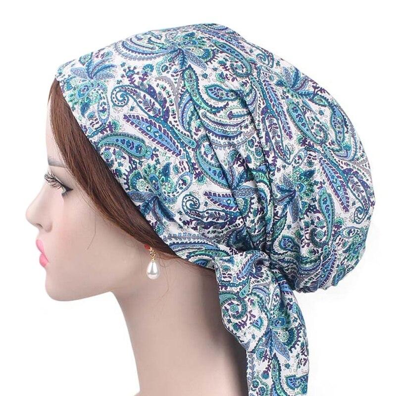 Women Bandana Scarf Pre Tied Chemo Hat   Beanie   Turban Bowknot Long Tail Head Cap
