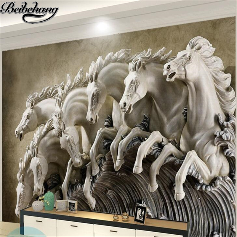beibehang Custom Wallpaper Simple Modern 3d Stereo Horse Relief Living Room Background Wall Murals papel de parede 3d wall paper custom 3d stereo wallpaper murals window outside european scenery living room tv wall decoration painting papel de parede 3d