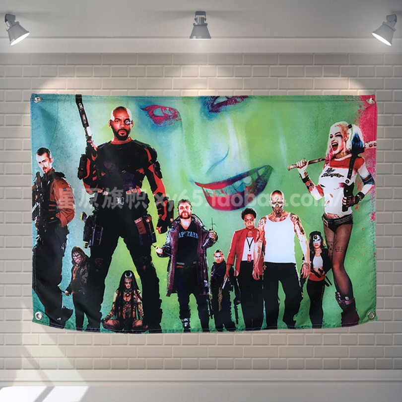 Suicide Squad Classic Movies Cloth Flag Banners & Accessories Bar Billiards Hall Studio Theme Wall Hanging Decoration