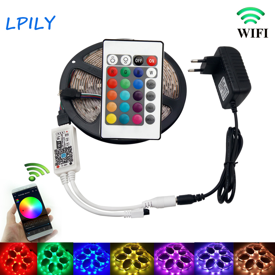 IPILY RGB LED Strip light 4m 5m 8m 10m 5050 non Waterproof with WIFI+ remote controller 5050 RGB led tape for decoration 10m 5m 3528 5050 rgb led strip light non waterproof led light 10m flexible rgb diode led tape set remote control power adapter