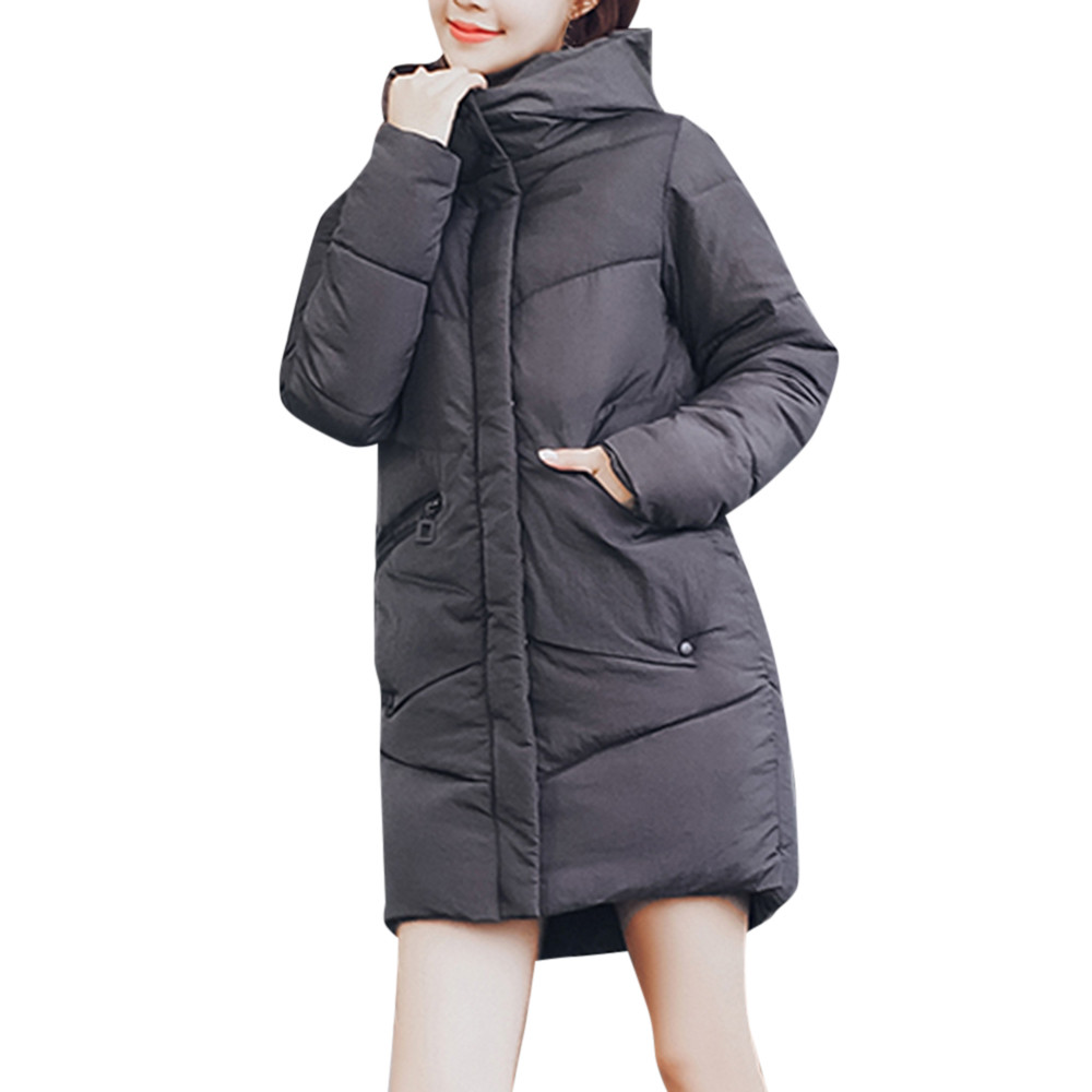 Negro Mujer blanco Moda Mujeres Con Algodón Streetwear Chaqueta Para Cálido Invierno  Abrigo De Capucha rojo gris ... 9c909d7da1cb