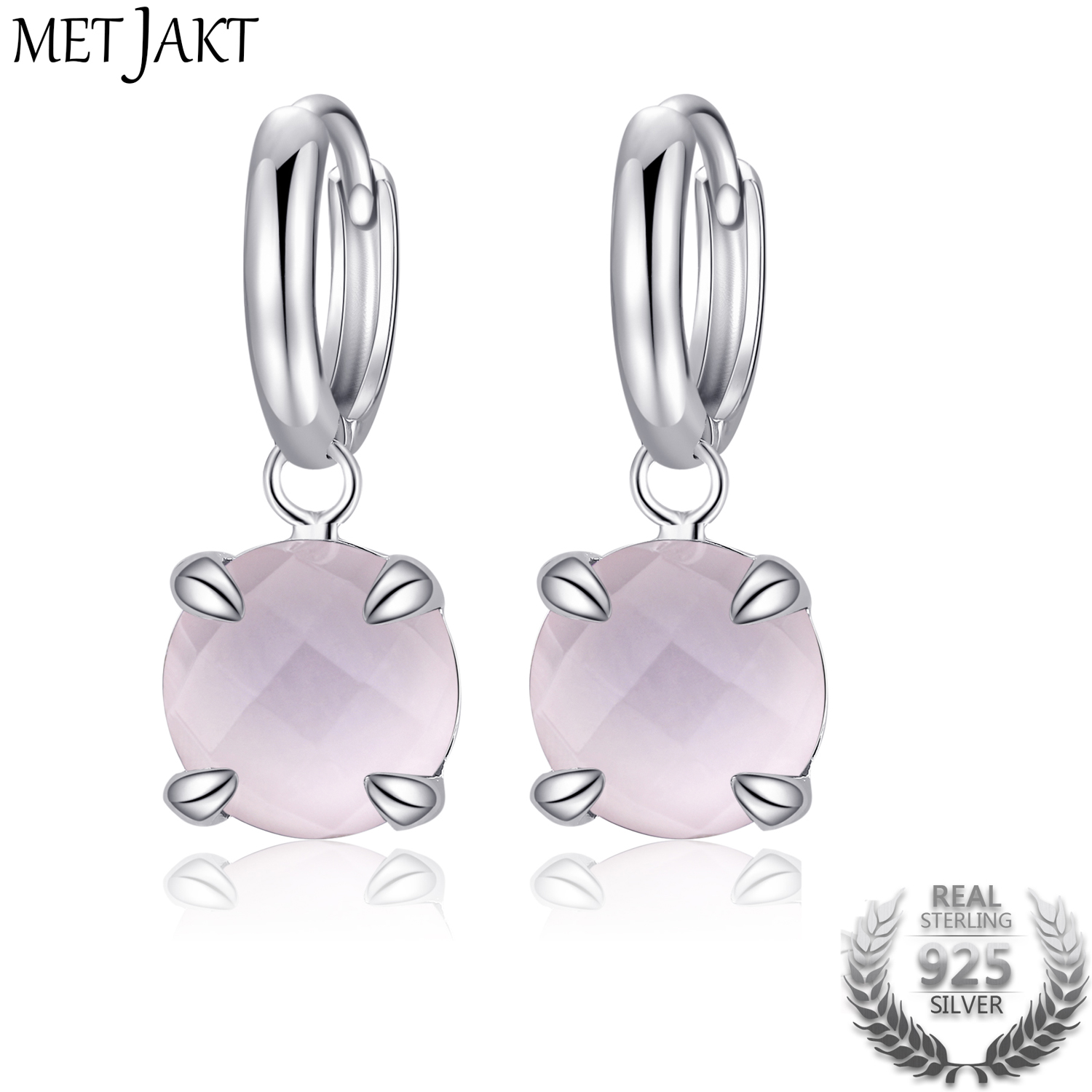 MetJakt Authentic Natural Rose Quartz Gemstone Beauty Effect Classic 925 Sterling Silver Hook Earrings for Women