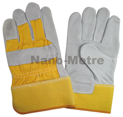 NMSAFETY 150 Pairs Yellow cow split leather Full Finger Welding Gloves