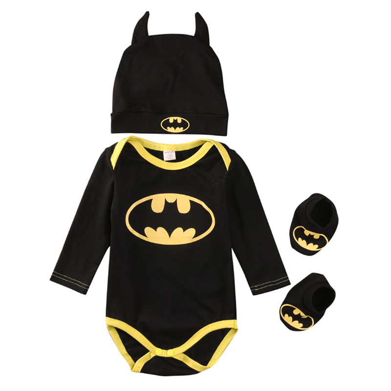 New Fashion 3Pcs Baby Boy Clothes Newborn Infant Baby Boy Bodysuit+Shoes+Hat Outfits Kids Boys Clothing Cotton Jumpsuit 0-24M