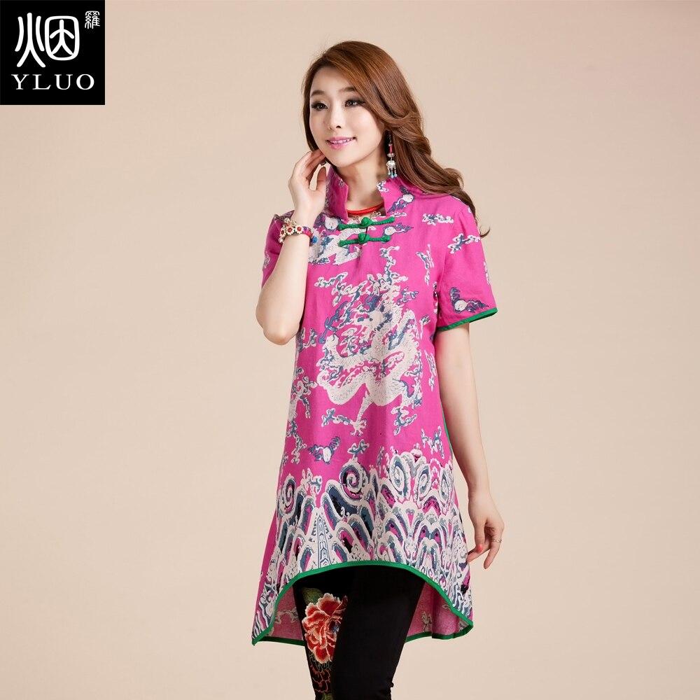 Grande taille grand Top rétro Long Blouse chine tendance nationale vêtements femmes été style chinois boutons col montant longue veste