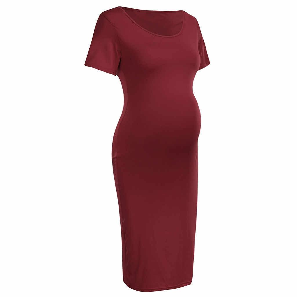 נשים של יולדות בהריון שמלות בהריון אישה O-צוואר קצר שרוול 2019 קיץ מוצק שמלת הריון שמלות עבור תמונה לירות