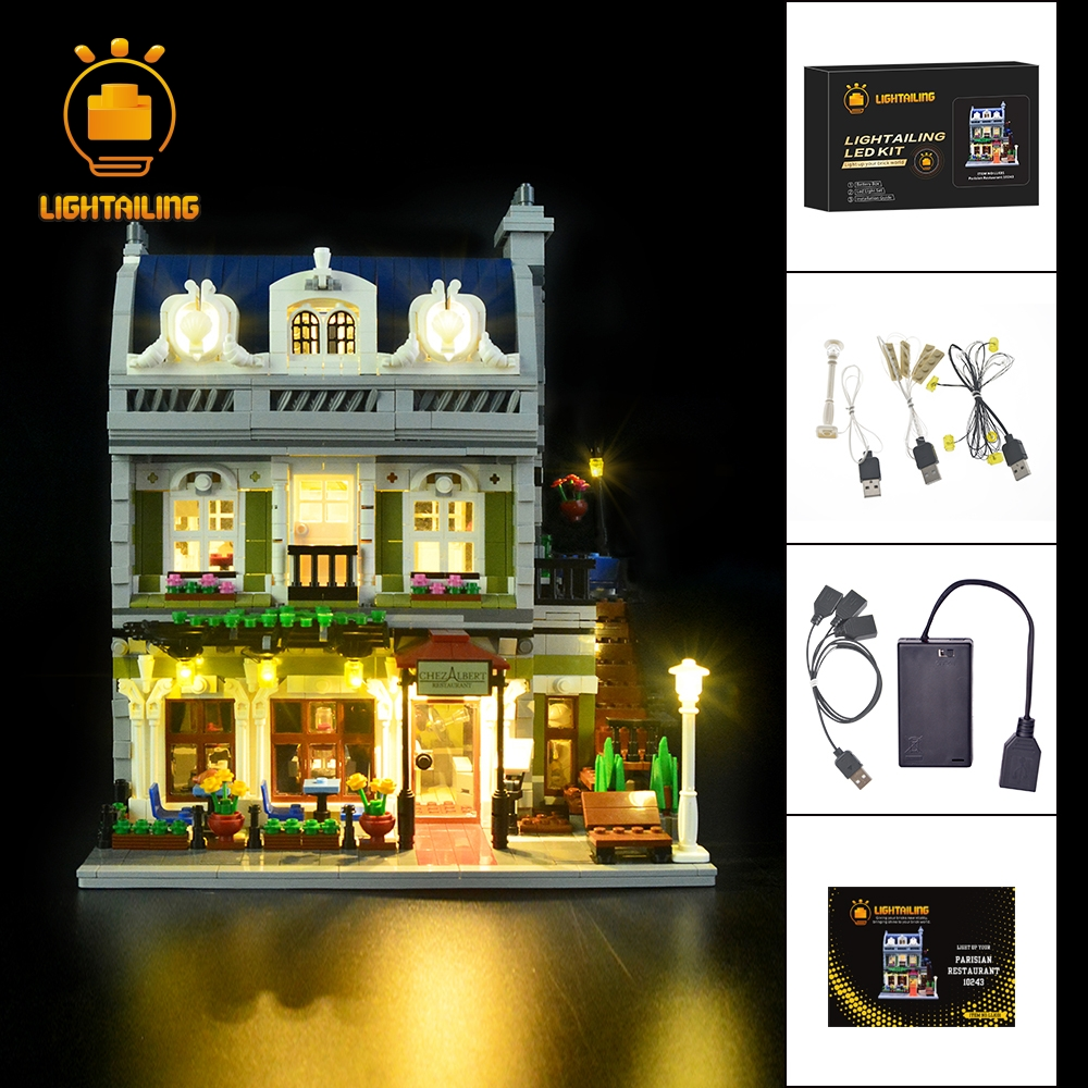 LIGHTAILING LED Light Up Kit For Creator Expert Parisian Restaurant Building Block Light Set Compatible With 10243 And 15010 led light up kit only light for lego 10243 and 15010 creator parisian restaurant building bricks set not included