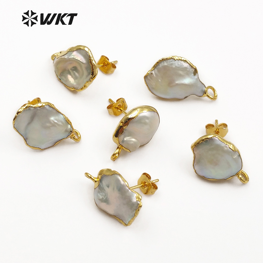 JF329 Pearl Stud Earring Connector Jewelry Random Size Pearl Jewelry Finding Gold Framed Pearl Accessories For Earring Making